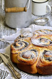 Yeast cake with poppy seed and cottage cheese. Royalty Free Stock Photos