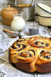 Yeast cake with poppy seed and cottage cheese. Royalty Free Stock Photography