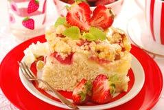 Yeast cake with strawberry Stock Photo