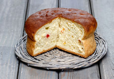 Yeast cake on wooden table Stock Photography