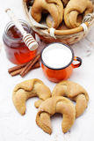 Yeast cinnamon croissant Royalty Free Stock Photography