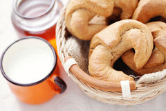 Yeast cinnamon croissant Stock Image