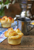 Yeast dough buns. Delicious yeast dough buns served for breakfast or tea party Royalty Free Stock Image