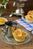 Yeast dough buns. Delicious yeast dough buns served for breakfast or tea party Royalty Free Stock Photo