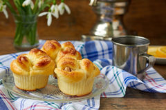 Yeast dough buns. Delicious yeast dough buns served for breakfast or tea party Stock Photos
