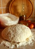 Yeast dough, eggs, and flour Stock Images