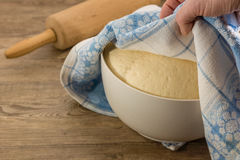 Yeast dough. The preparation of yeast dough Royalty Free Stock Photo