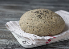 Yeast dough from rye flour with poppy for baking bread Royalty Free Stock Photos