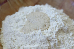 Yeast and flour. Close-up of yeast and flour Royalty Free Stock Photos