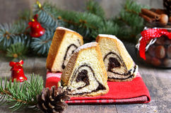 Yeast orange christmas cake with poppy seed filing. Royalty Free Stock Photography