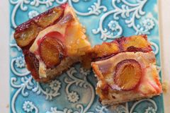 Yeast plum cake Royalty Free Stock Images