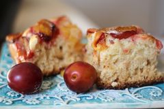 Yeast plums cake Royalty Free Stock Images