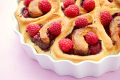 Yeast, raspberry buns Royalty Free Stock Images