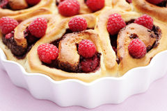 Yeast, raspberry buns Stock Photos