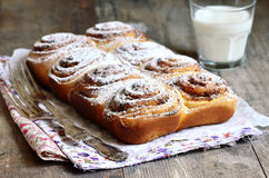 Yeast rolls with cinnamon. Royalty Free Stock Photos