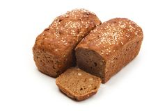 Yeastless bread with sesame on white background Stock Image
