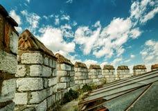 Yedikule城堡的城垛在伊斯坦布尔 库存图片