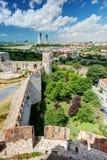 伊斯坦布尔看法从Yedikule堡垒塔的  免版税库存照片