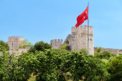 The Yedikule Fortress with Turkish flag in Istanbul Stock Images