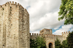 Yedikule fästning (slotten av sju torn) i Istanbul Arkivbilder