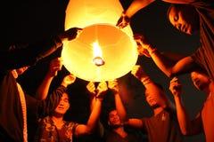 Yee peng (den loy kratongfestivalen) Arkivfoton