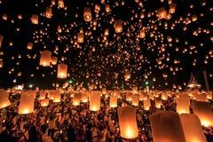 Yee Peng Festival na província de Chiangmai, Tailândia imagem de stock