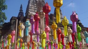 Yee Peng Festival Yi Peng Chiang Mai. Paper lanterns decorated in Jed-Yod temple