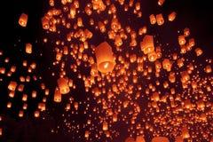 Yee Peng festiwal, Loy Krathong świętowanie z więcej niż tho Obrazy Royalty Free