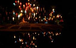 Yee Peng lantern festival in Chiang Mai Thailand. Buddha at Yee Peng lantern festival in Wat Phan Tao temple Chiang Mai Thailand Stock Image