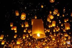 Yeepeng del fuego del globo en Tailandia del norte Imagen de archivo libre de regalías