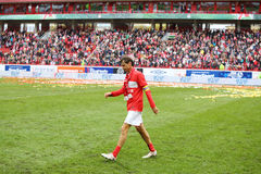 Yegor Titov walk at stadium after farewell match Royalty Free Stock Photo