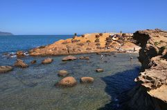 Yeh Liu geopark sea landscape. A seaside landscape shot at yeh Liu Geopark, Taiwan Royalty Free Stock Photo
