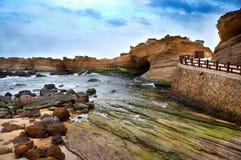 Yeh liu Geopark in Taiwan. Shoreline, Yeh liu national park, Taiwan Royalty Free Stock Image