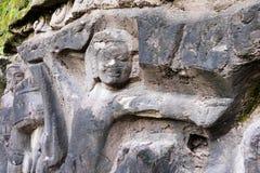 Yeh Pulu cyzelowania kamienny zakończenie, Bali Indonezja zdjęcie royalty free