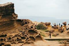 Yehliu Geopark岩层在台湾 库存照片