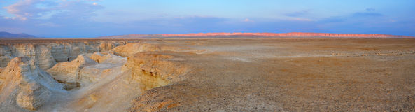 Yehuda Desert Panorama, Israel. Yehuda Desert landscape with canyons and red mountain range, Israel Royalty Free Stock Photos