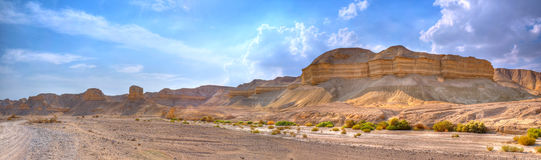 Yehuda Desert Panorama, Israel. Yehuda Desert landscape with canyons and layered rock formations, Israel Stock Photo
