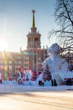 Yekaterinburg city administration building and a ice town Royalty Free Stock Photography