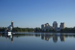 Yekaterinburg city landscape (Russia). Russian city landscape. Iset river Royalty Free Stock Image