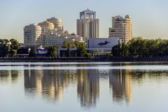 Yekaterinburg city landscape (Russia). Russian city landscape. Iset river Stock Photo