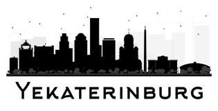 Yekaterinburg City skyline black and white silhouette. Stock Image