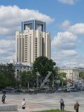 Yekaterinburg, Rússia - 06/07/2017: Torre do corporaçõ de Gazprom imagem de stock royalty free