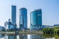 Yekaterinburg Rosja, Sierpień, -, 04,2016: Widok nowożytny Ekaterinburg miasta i miasto stawu bulwar Zdjęcie Royalty Free