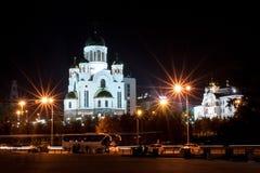 Yekaterinburg Rosja, Wrzesień, -, 26,2016: Kościół na krwi w wieczór Zdjęcia Royalty Free