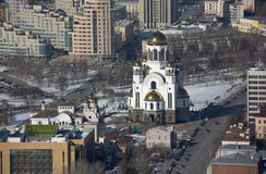 Yekaterinburg, Russia. Cathedral Temple-on-Blood from the observation deck of a skyscraper, Vysotsky. Stock Photography