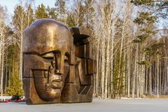 Yekaterinburg, Russia November 2017, Monument Masks of Grief by Ernst Neizvestny Stock Images