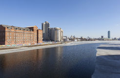 YEKATERINBURG, RUSSIA. Urban landscape with a city pond. Royalty Free Stock Image