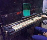 Yekaterinburg, Russian Federation-may 19, 2018: Museum of culture and interior items of the Soviet Union. The old, blood-stained piano with dirty keys Royalty Free Stock Photos