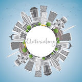 Yekaterinburg Skyline with Gray Buildings and Copy Space. Royalty Free Stock Photography