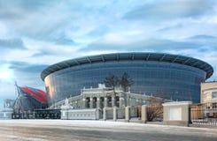 Yekaterinburg stad Konstruktionen av den nya stadion Arkivfoto